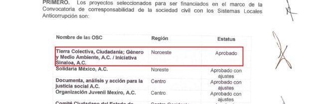 Iniciativa Sinaloa y Tierra Colectiva ganan financiamiento para proyecto anticorrupción en Sinaloa y Baja California